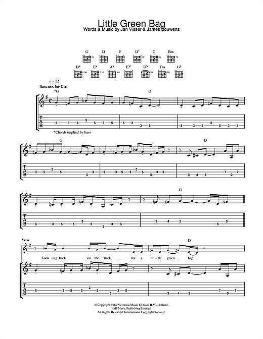 Little Green Bag (from Reservoir Dogs) (Guitar Tab)