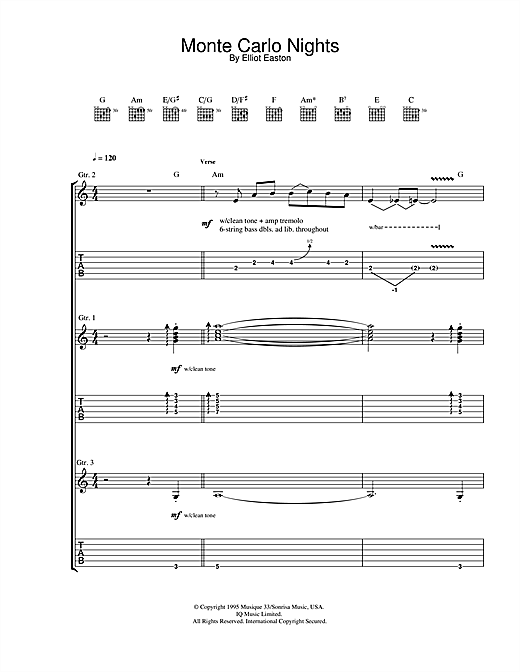 Tablature guitare Monte Carlo Nights (from Jackie Brown) de Elliot Easton - Tablature Guitare