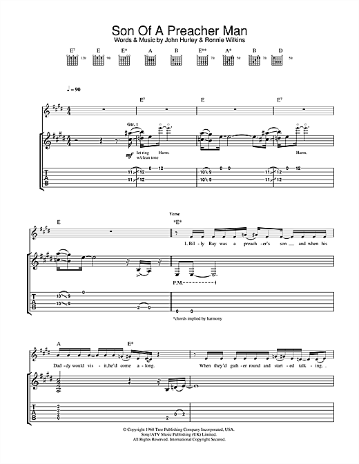 Tablature guitare Son Of A Preacher Man de Dusty Springfield - Tablature Guitare