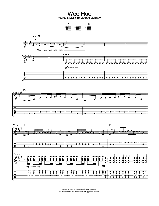 Tablature guitare Woo Hoo de The 5.6.7.8's - Tablature Guitare
