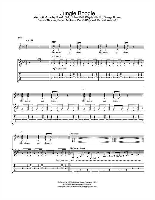 Tablature guitare Jungle Boogie (from Pulp Fiction) de Kool And The Gang - Tablature Guitare