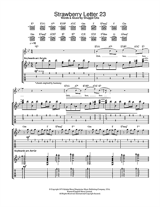 Strawberry Letter 23 from Pulp Fiction Guitar Tab by The