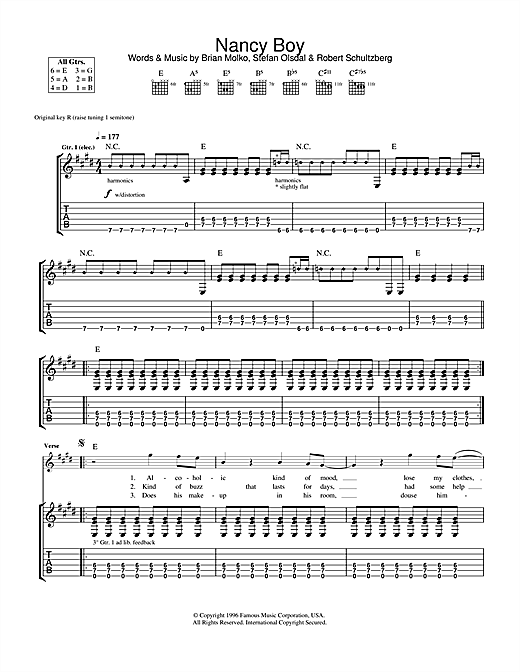 Nancy Boy Sheet Music