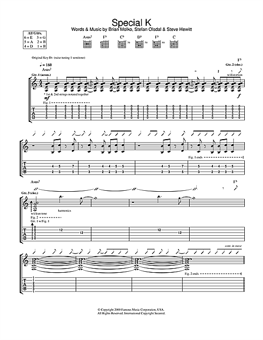 Tablature guitare Special K de Placebo - Tablature Guitare