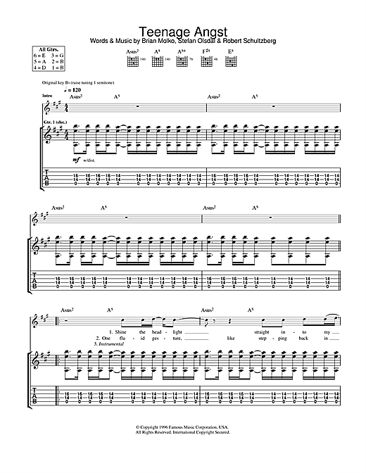 Tablature guitare Teenage Angst de Placebo - Tablature Guitare
