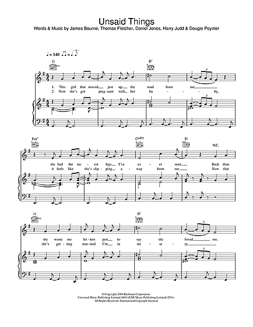 Unsaid Things Sheet Music