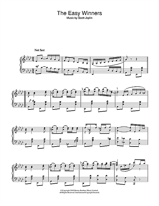 Partition piano Easy Winners de Scott Joplin - Piano Solo