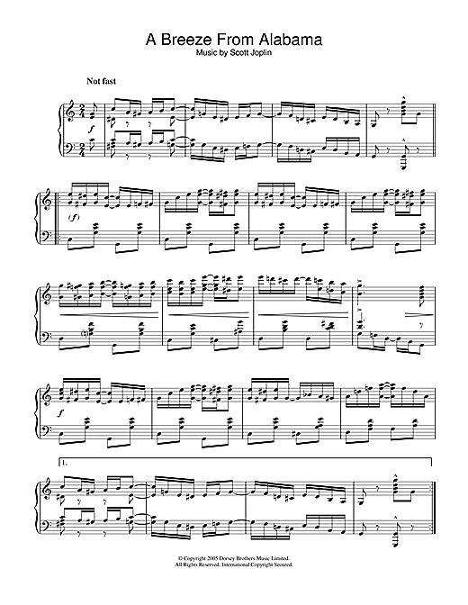 Partition piano A Breeze From Alabama de Scott Joplin - Piano Solo