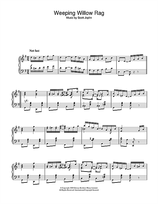 Partition piano Weeping Willow Rag de Scott Joplin - Piano Solo