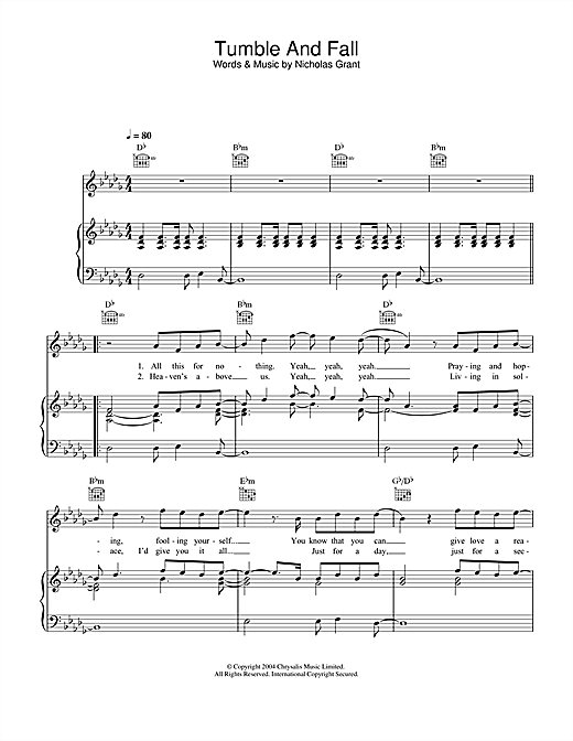 Tumble And Fall (Piano, Vocal & Guitar (Right-Hand Melody))