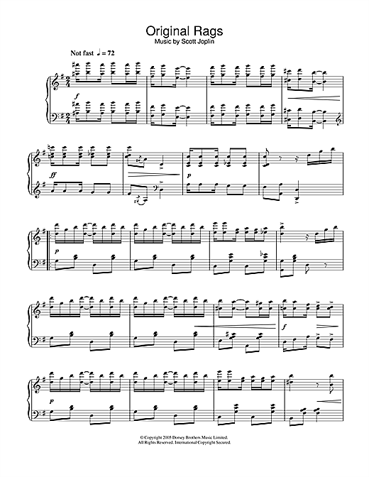 Partition piano Original Rags de Scott Joplin - Piano Solo