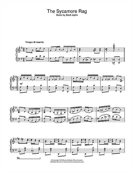 Partition piano The Sycamore de Scott Joplin - Piano Solo