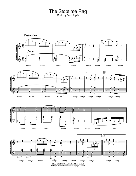 Partition piano Stoptime Rag de Scott Joplin - Piano Solo