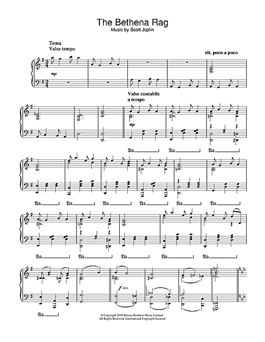 Partition piano Bethena Rag de Scott Joplin - Piano Solo