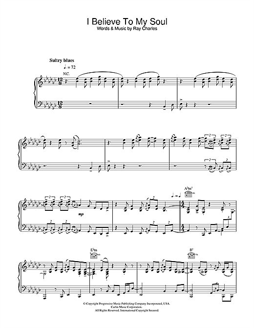 I Believe To My Soul Sheet Music