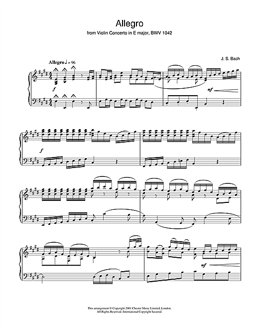 Partition piano Allegro From Violin Concerto In E Major, Bwv 1042 de Johann Sebastian Bach - Piano Solo