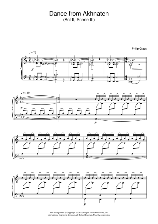 Partition piano Dance from Akhnaten, Act 2 Scene 3 de Philip Glass - Piano Solo