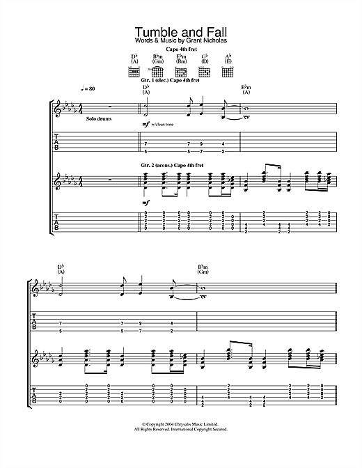 Tablature guitare Tumble And Fall de Feeder - Tablature Guitare