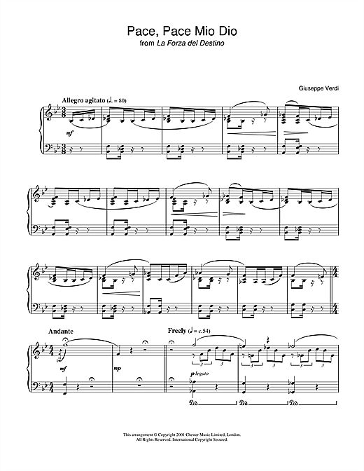 Pace, Pace Mio Dio from 'la Forza Del Destino' Sheet Music