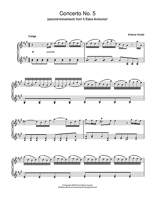 Concerto No.5 (2nd Movement: Largo) from 'L'Estro Armonico' Op.3 Sheet Music