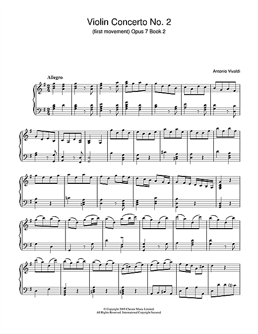 Violin Concerto No.2 (1st Movement: Allegro Op.7, Book 2 Sheet Music