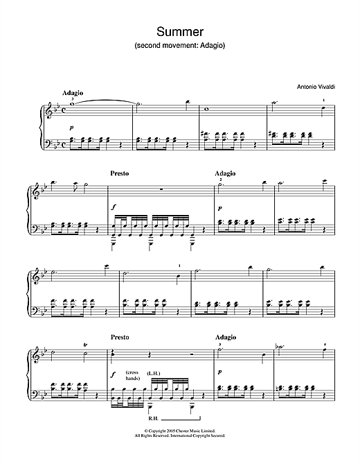 Partition piano Summer (2nd Movement de Antonio Vivaldi - Piano Solo