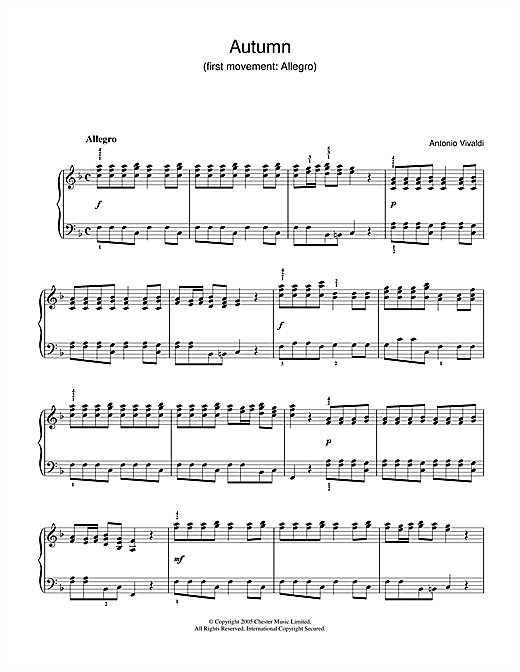 Partition piano Autumn (1st Movement de Antonio Vivaldi - Piano Solo