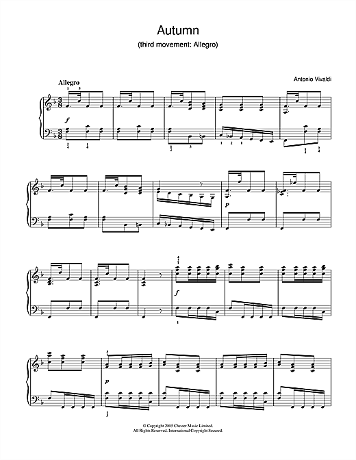 Autumn (3rd Movement: Allegro) Sheet Music