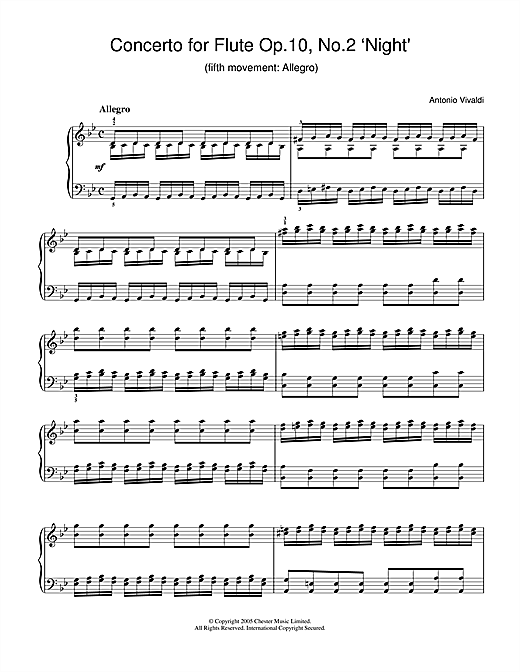 Partition piano Concerto for Flute Op.10, No.2 'Night' (5th Movement de Antonio Vivaldi - Piano Solo