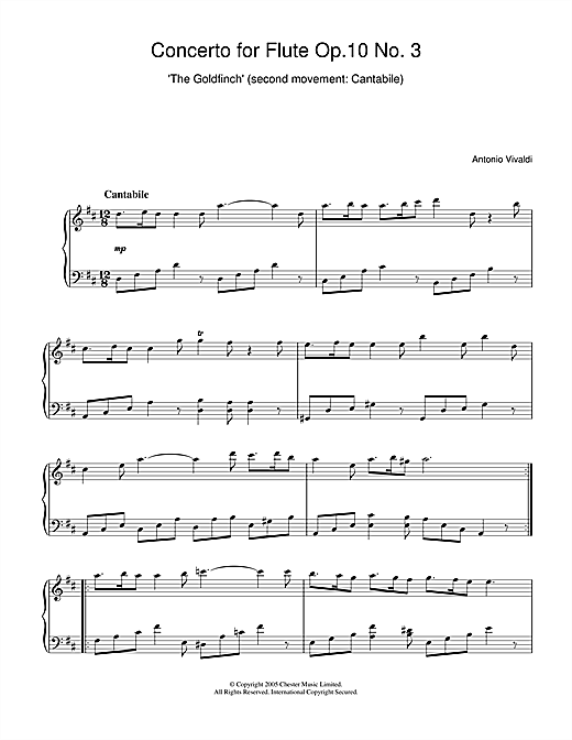 Concerto for Flute Op.10, No.3 'The Goldfinch' (2nd Movement: Cantabile) Sheet Music
