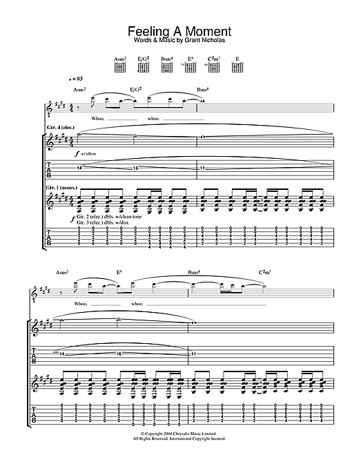 Feeling A Moment Sheet Music