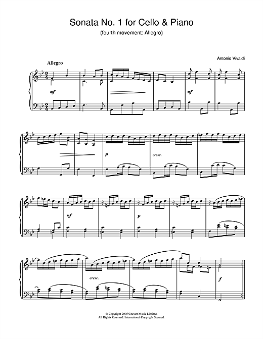Partition piano Sonata No.1 for Cello & Piano (4th Movement de Antonio Vivaldi - Piano Solo