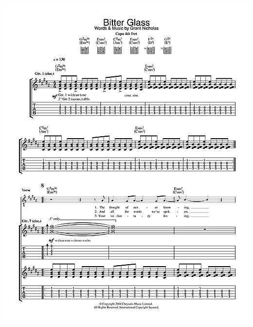 Bitter Glass Sheet Music