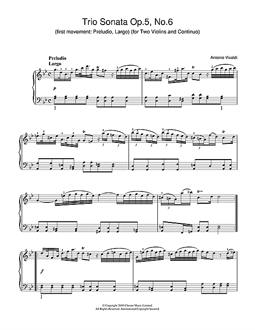 Partition piano Trio Sonata Op.5, No.6 (1st Movement de Antonio Vivaldi - Piano Solo