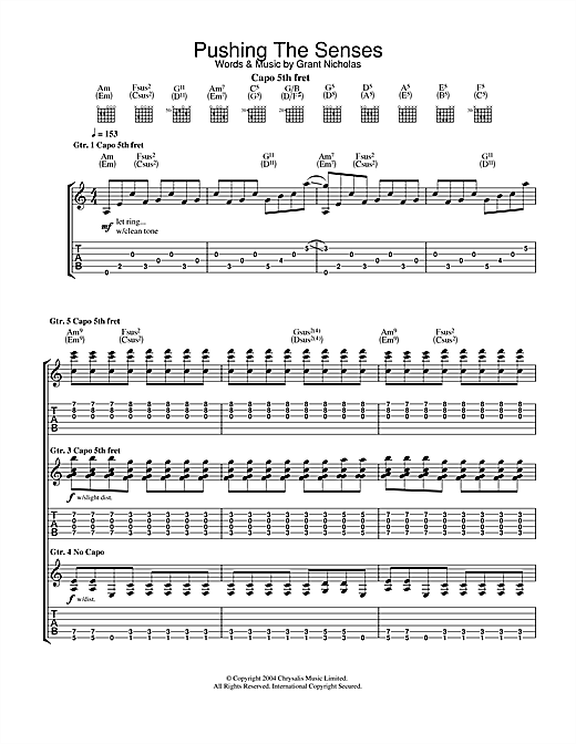 Tablature guitare Pushing The Senses de Feeder - Tablature Guitare
