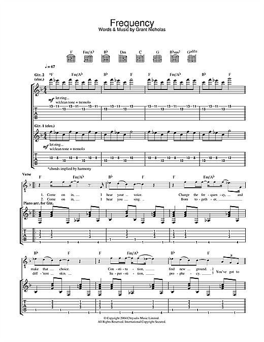 Frequency Sheet Music