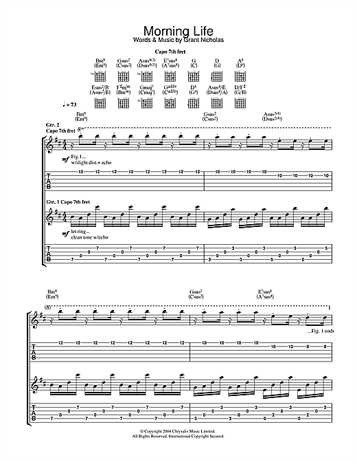 Tablature guitare Morning Life de Feeder - Tablature Guitare
