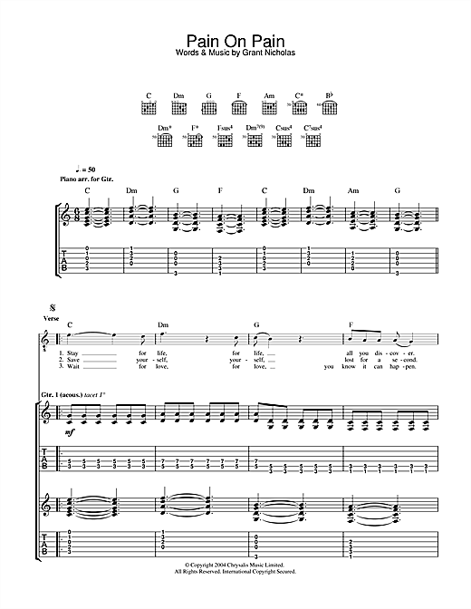 Pain On Pain Sheet Music