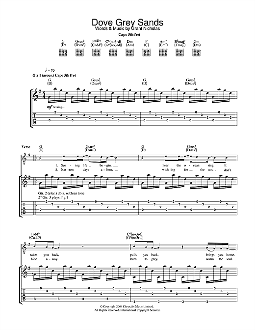 Tablature guitare Dove Grey Sands de Feeder - Tablature Guitare
