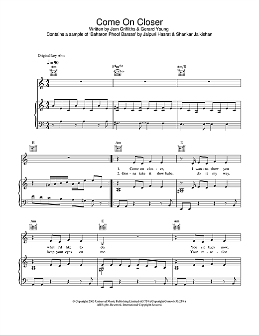 Come On Closer Sheet Music