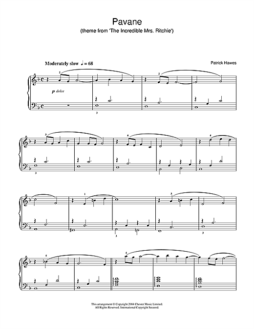 Partition piano Pavane (theme from The Incredible Mrs Ritchie) de Patrick Hawes - Piano Solo