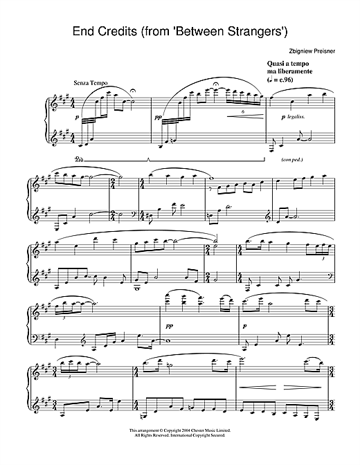 End Credits (from Between Strangers) Sheet Music