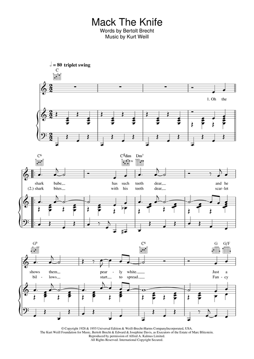 Mack The Knife (Piano, Vocal & Guitar (Right-Hand Melody))