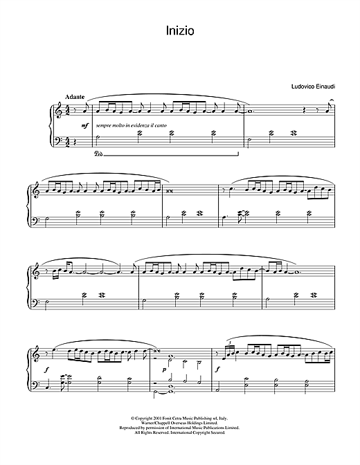 Inizio Sheet Music