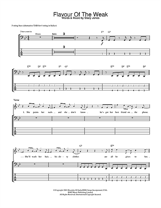 Tablature guitare Flavor Of The Weak de American Hi-Fi - Tablature Basse