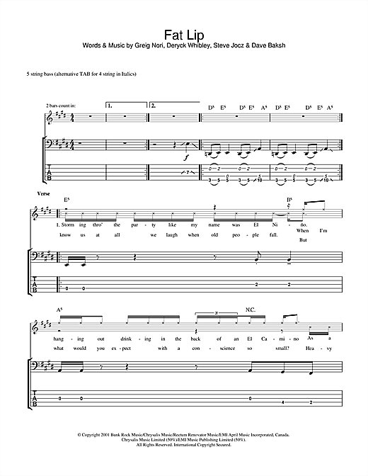 Tablature guitare Fat Lip de Sum 41 - Tablature Basse