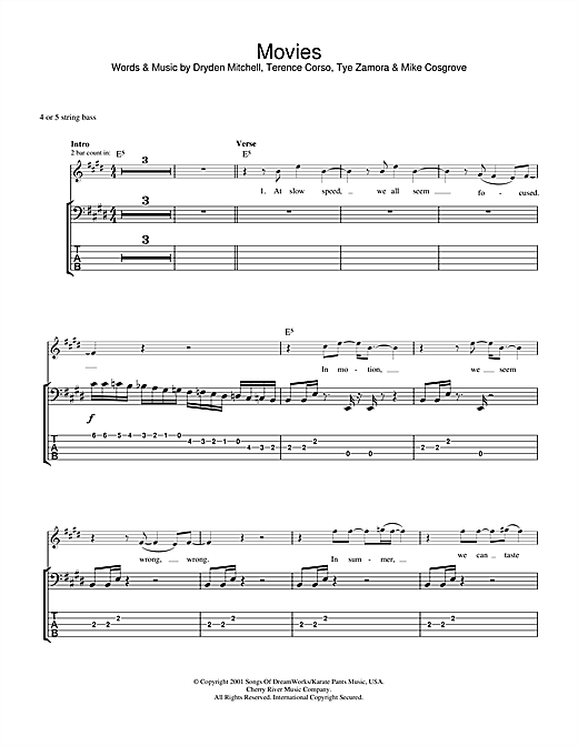 Tablature guitare Movies de Alien Ant Farm - Tablature Basse