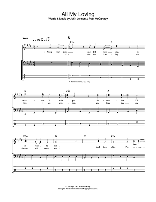 Tablature guitare All My Loving de The Beatles - Tablature Basse