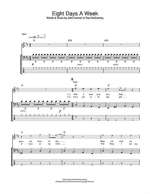 Tablature guitare Eight Days A Week de The Beatles - Tablature Basse