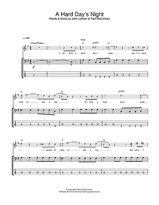 Tablature guitare A Hard Day's Night de The Beatles - Tablature Basse